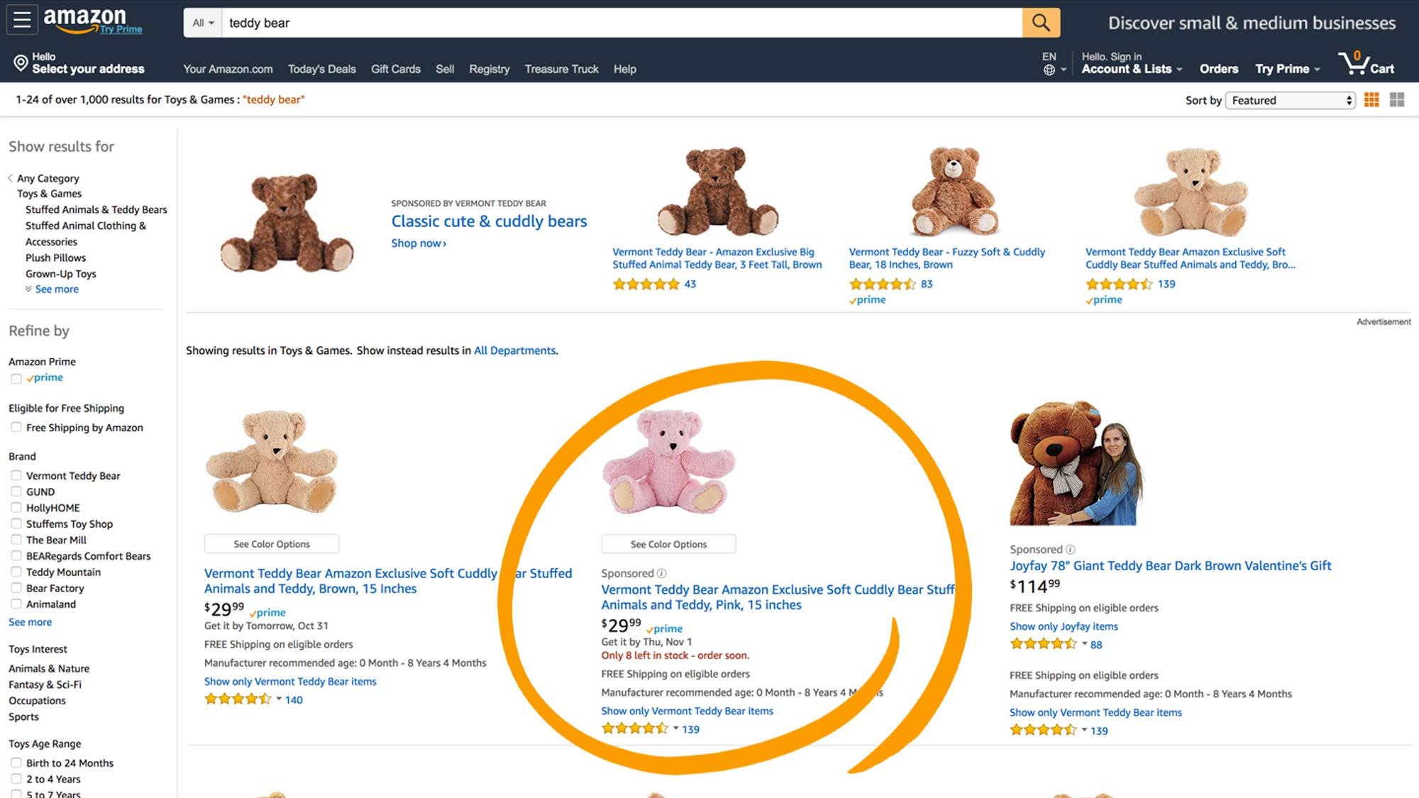 Exemple Sponsored products Amazon
