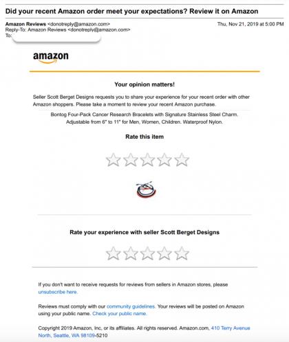 Mail demande d'avis amazon vendeur